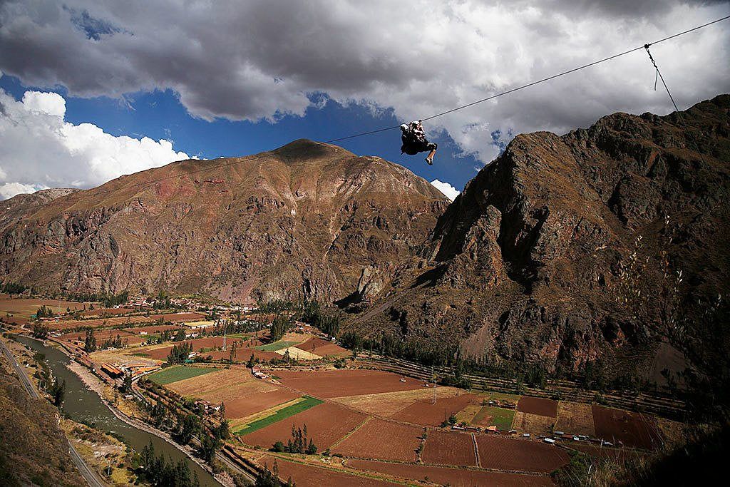 Riding a zip line in the Sacred Valley