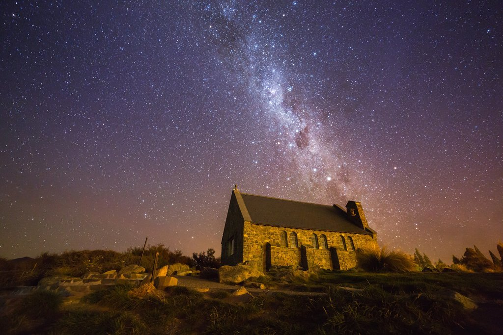Stargazing over the Church of the Good Shepherd in Lake Tekapo