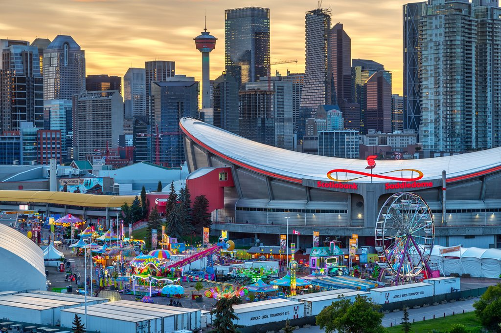 Calgary's skyline with the Saddledome in the foreground