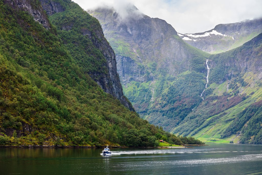 A boat passing through the Sognefjord