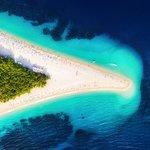 Stunning aerial shot of Zlatni Rat beach