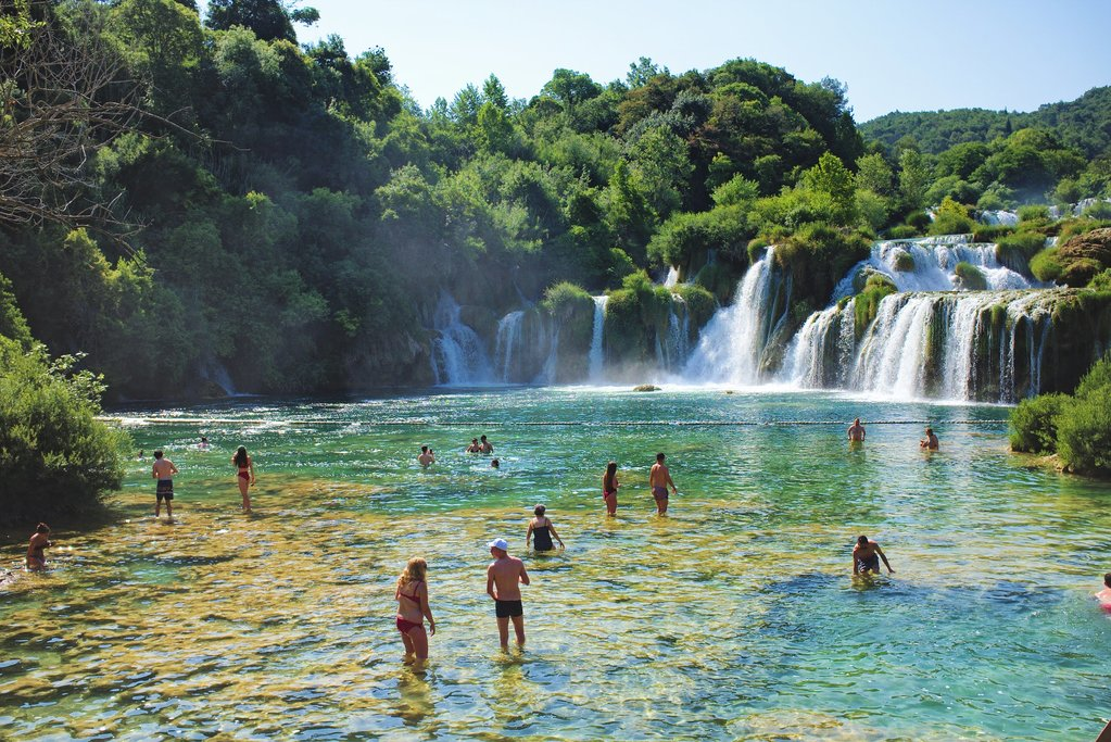 A popular waterfall spot for travelers in Krka National Park