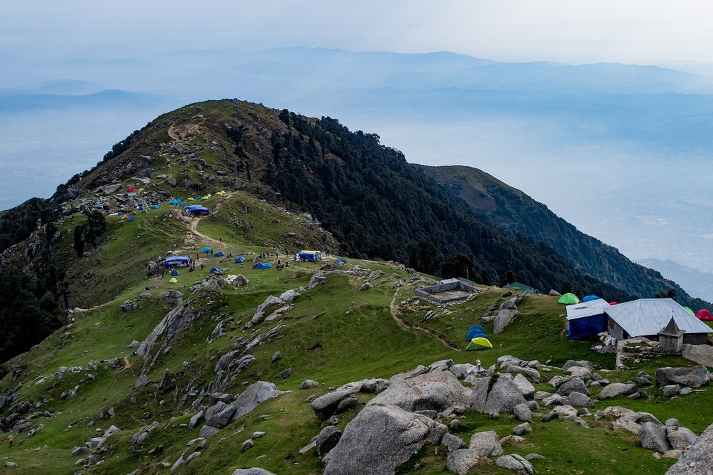 View of the Triund campsite
