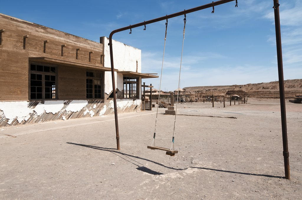 The remains of the school in the ghost town of Humberstone