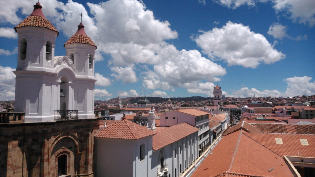 The church-towers and rooftops of the colonial buildings in Sucre's city center.