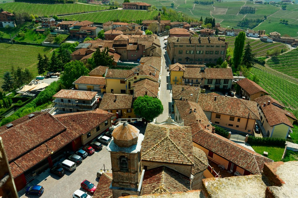 Red rooftops in Barbaresco.