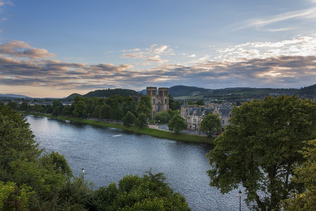 Inverness, capital of the Highlands, overlooking the River Ness.