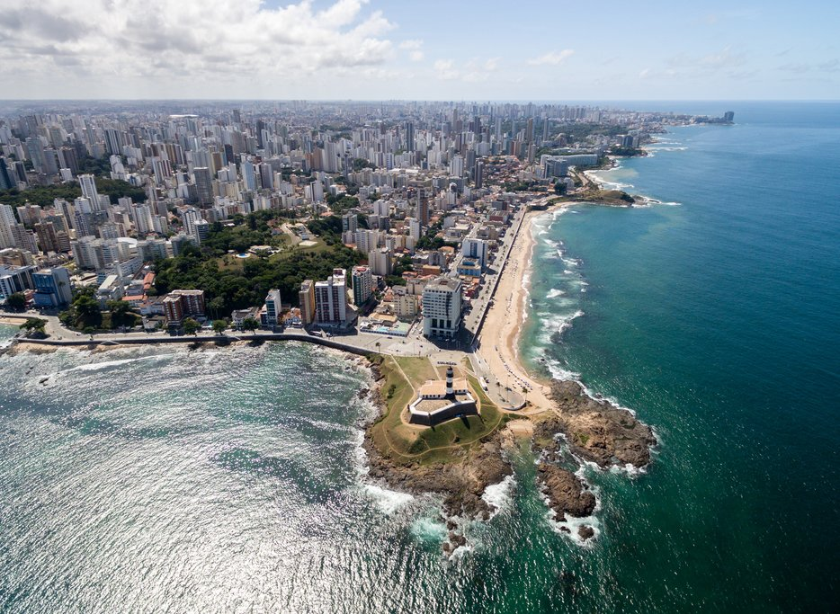Barra lighthouse and Salvador skyline