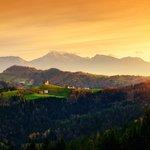 Chruch of St. Tomaž and Slovenian landcape