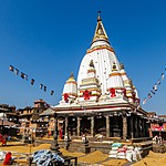 Villagers drying rice next to Machhindranath Temple in Bungamati