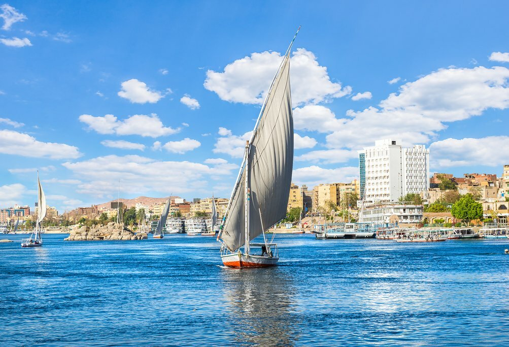 Traditional sailboats on the Nile at Luxor