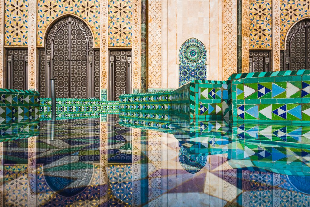 A reflection of Hassan II Mosque, Casablanca