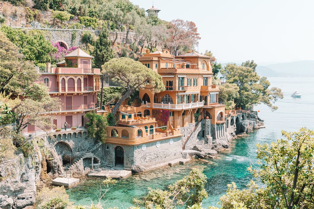 Colorful summer villas in Portofino