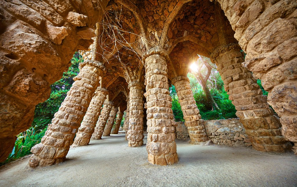 Stone pillars in Park Guell