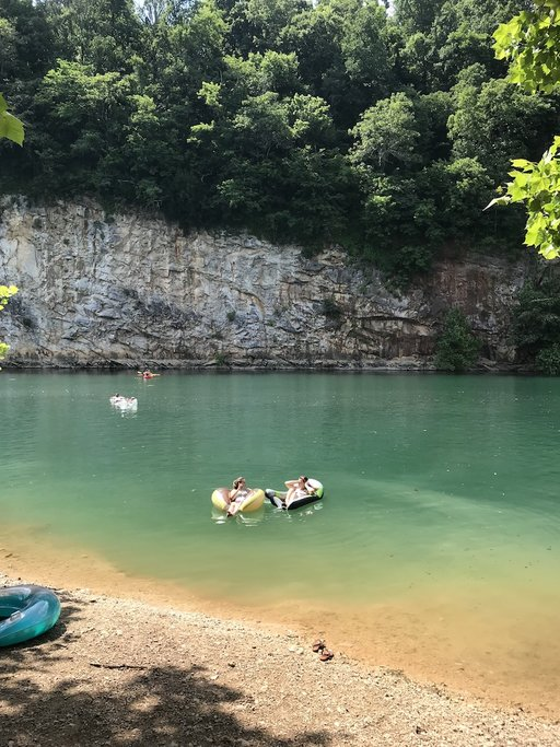 Float in the waters at Meads Quarry