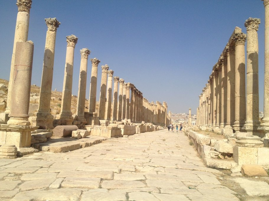The colonnaded street in Jerash
