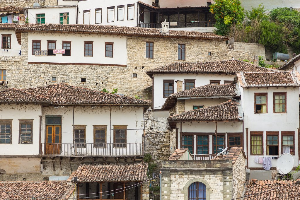 Old stone houses in the Mangalem district in Berat