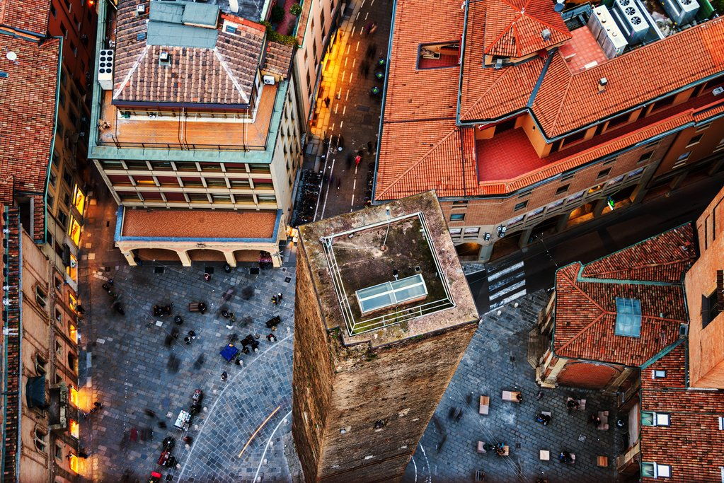 Aerial view of central Bologna