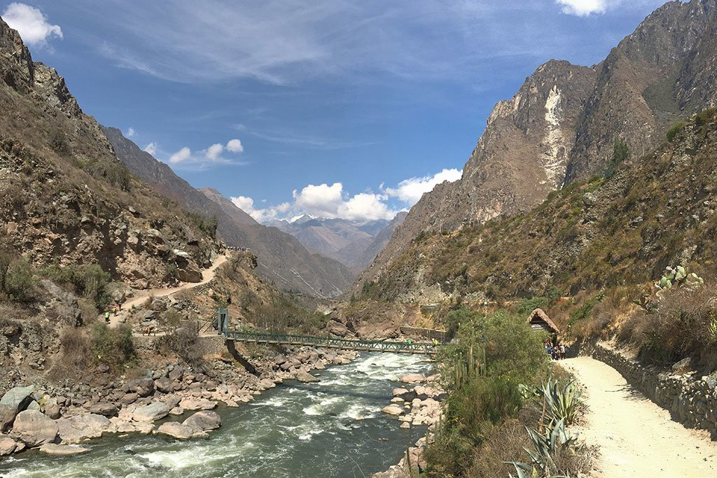 The beginning of the Inca Trail, crossing the Urubamba river