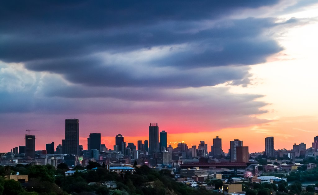 A view of Johannesburg city at sunset