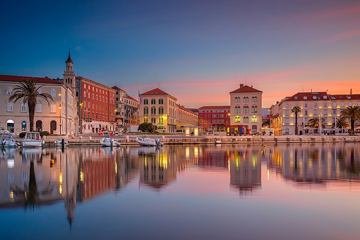 Split's waterfront at sunset