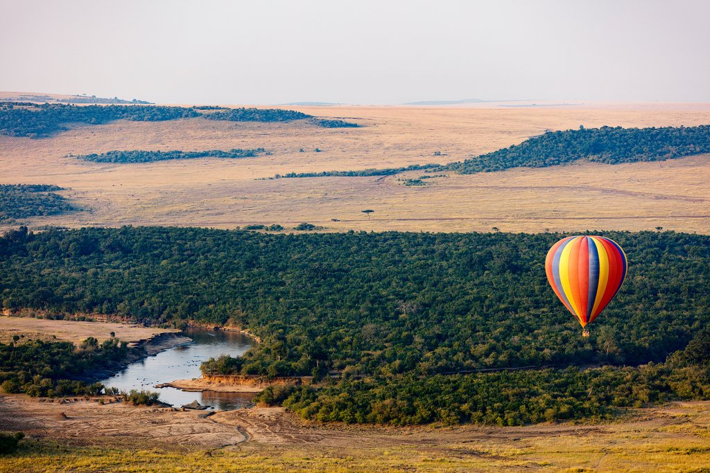 Early morning hot air balloon ride in Masai Mara