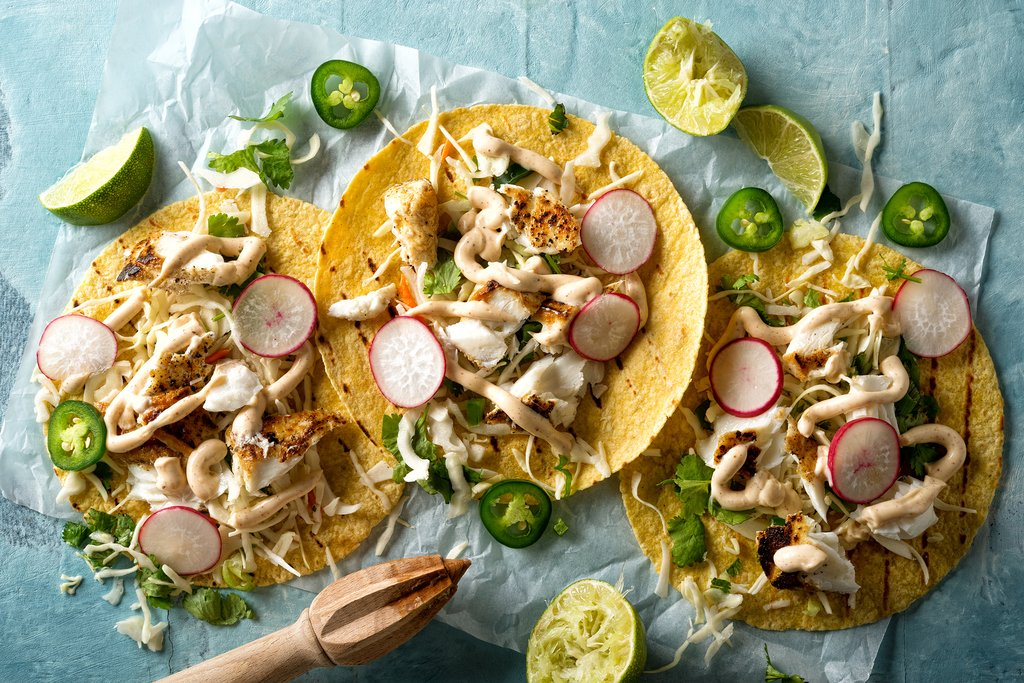 Grilled fish tacos with cilantro, lime and jalapeño in Baja California