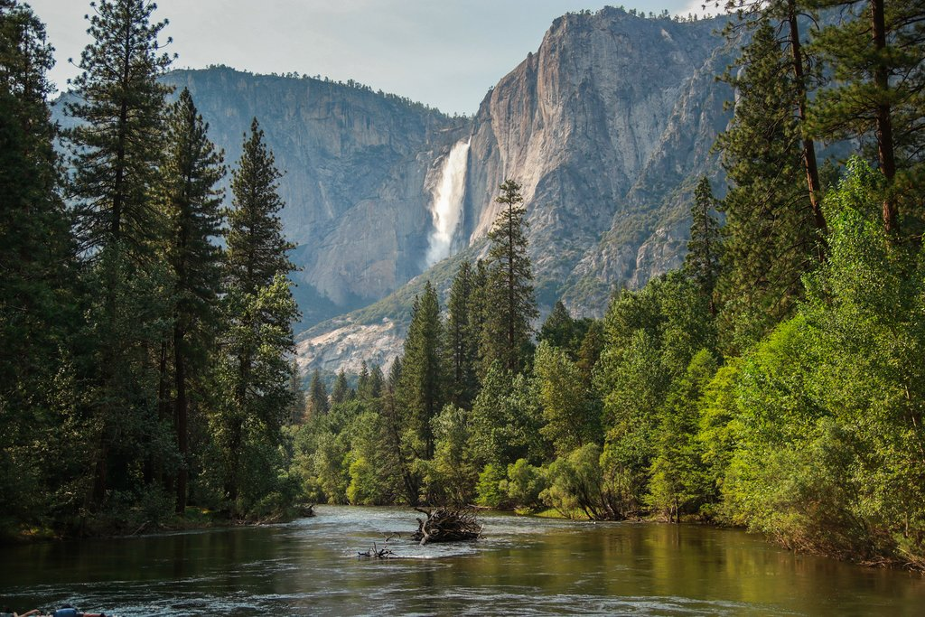 Yosemite Falls over Merced River