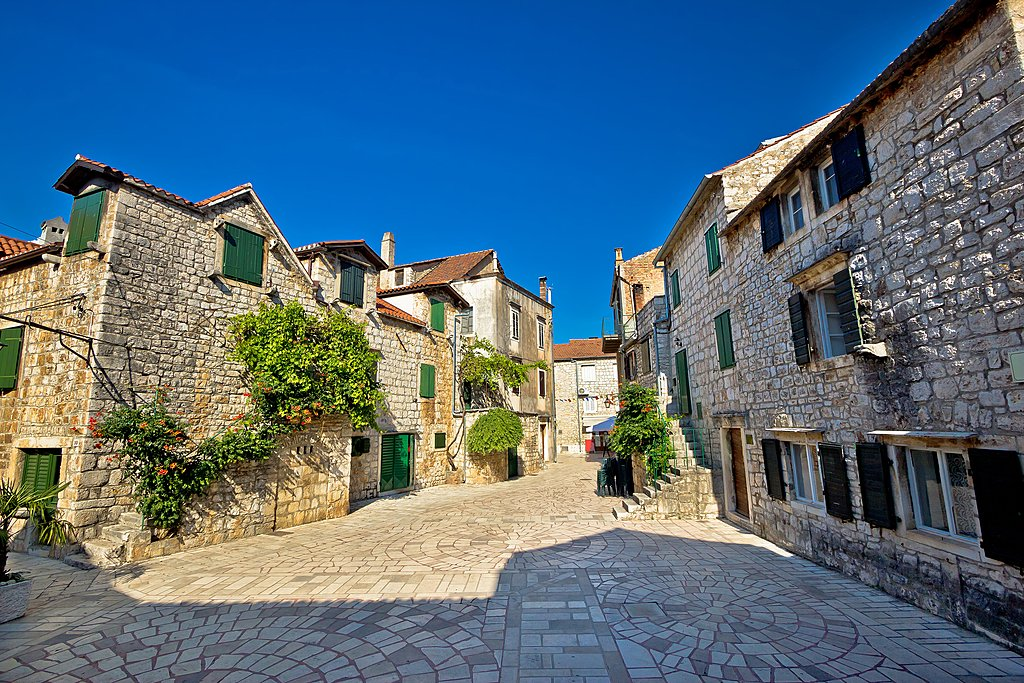 Cobblestone streets in the town of Stari Grad on the northern coast of Hvar