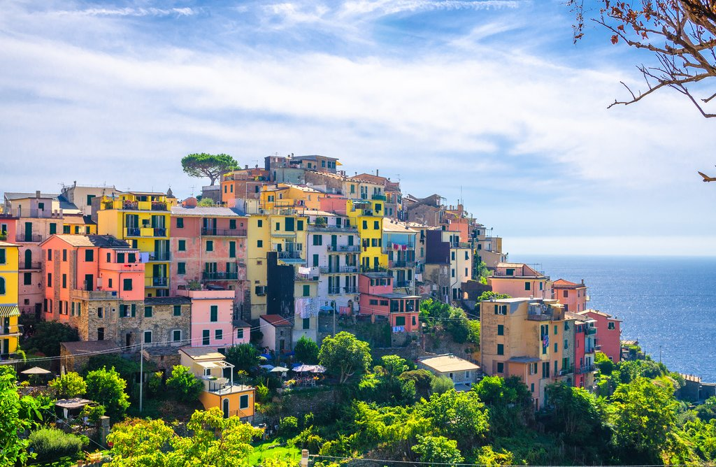 The colorful houses of Corniglia, one of the villages in Cinque Terre
