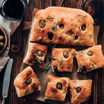Fresh Focaccia with olives and rosemary