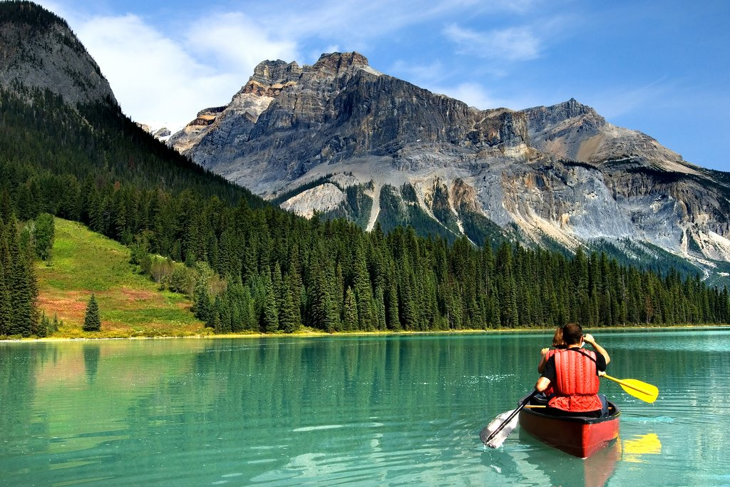 Canoeing on Emerald Lake