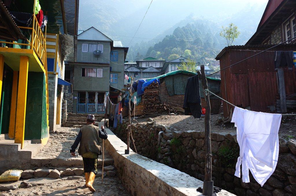 A local walks through town in Lukla