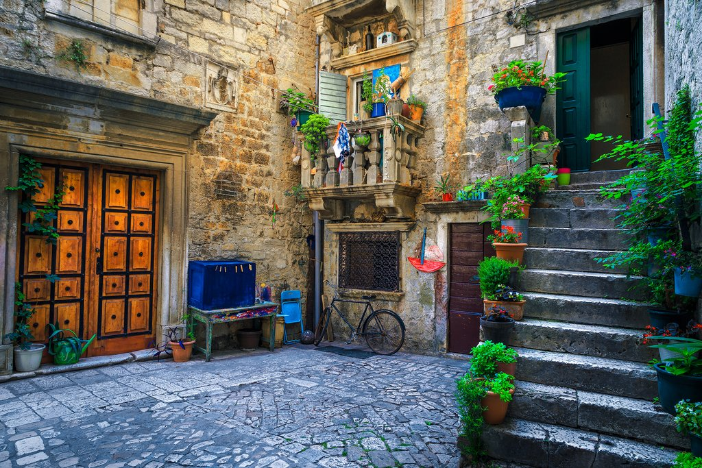Croatia - Charming stone houses and cobbled streets in Trogir