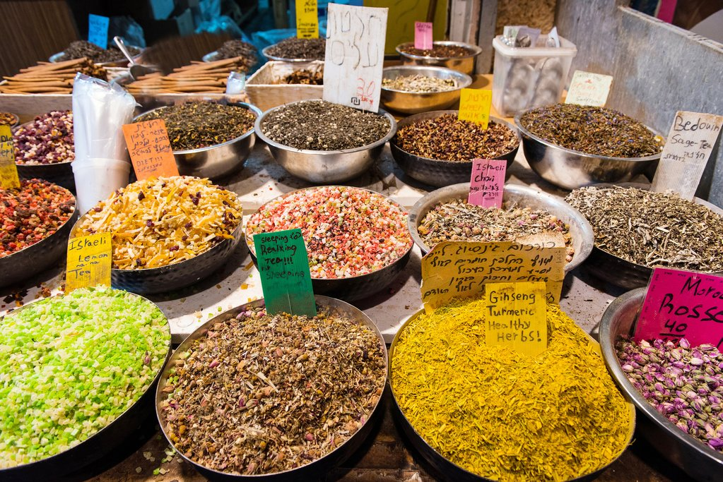 Dried spices on display at a Jerusalem market