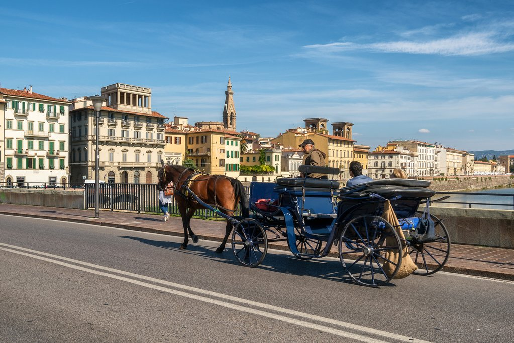 Touring Florence in a horse-drawn carriage