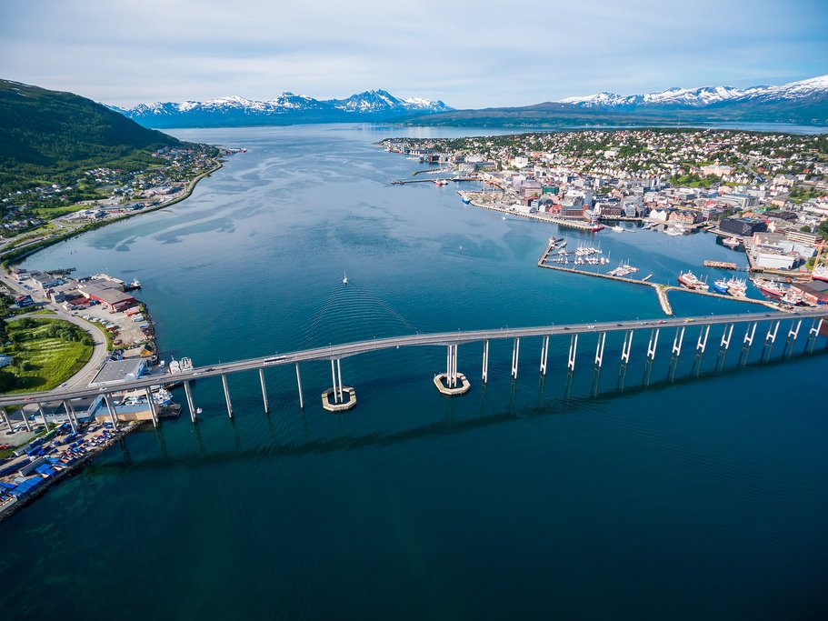The bridge entering Tromsø, a city of about 50,000 people
