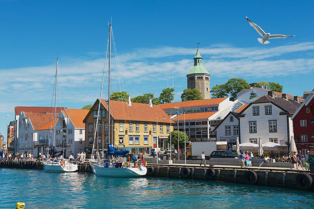 Stavanger's colorful harbor in summer