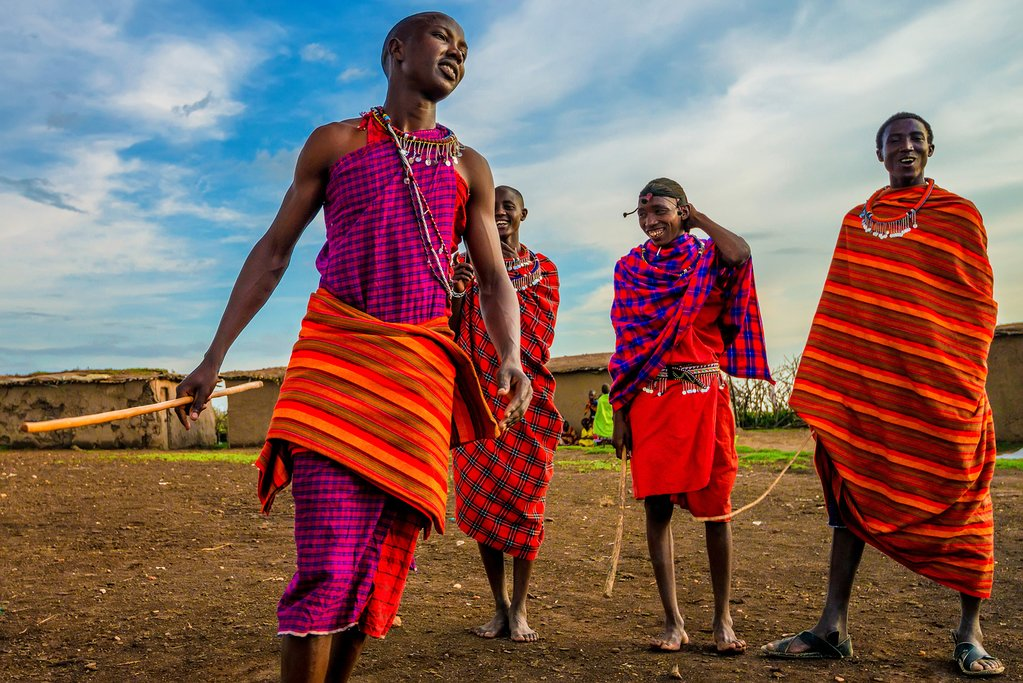 Indigenous Maasai people in their village