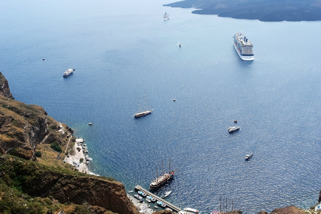 Looking down into Santorini's caldera
