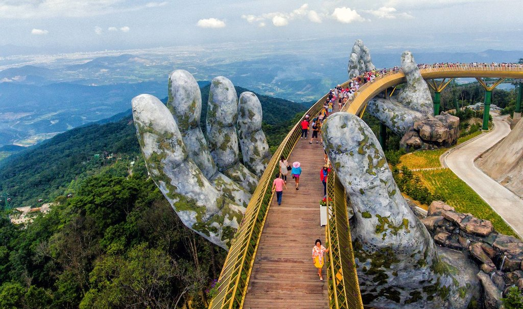 The giant stone hands of Golden Bridge