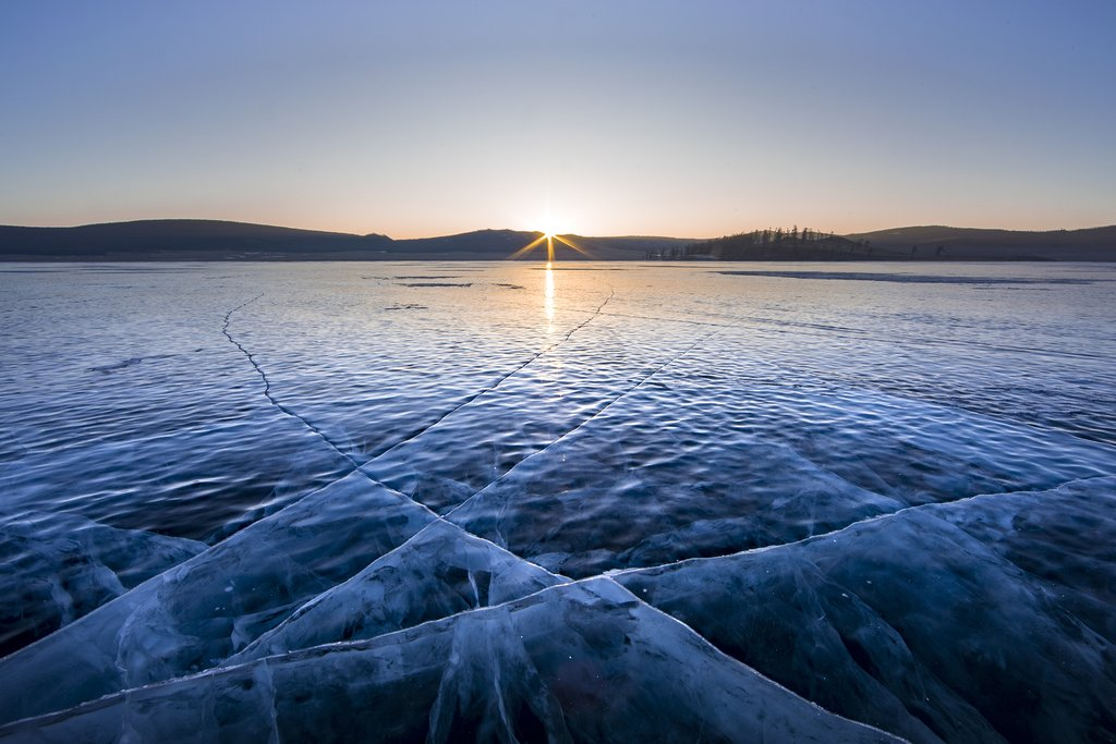 Sunrise over frozen Lake Khuvsgul