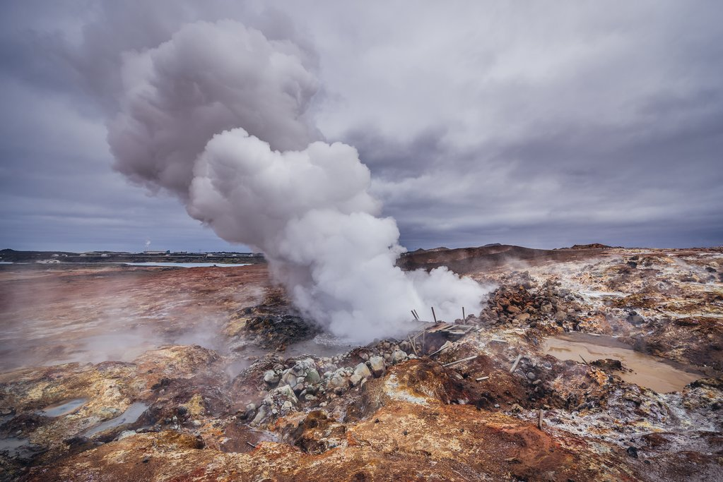 A geothermal area in Reykjanes Peninsula
