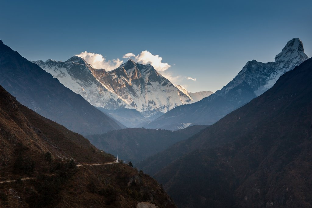 Morning views of Ama Dablam and Lhotse in Sagarmatha National Park