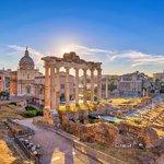 Skyline and Roman Forum at sunrise