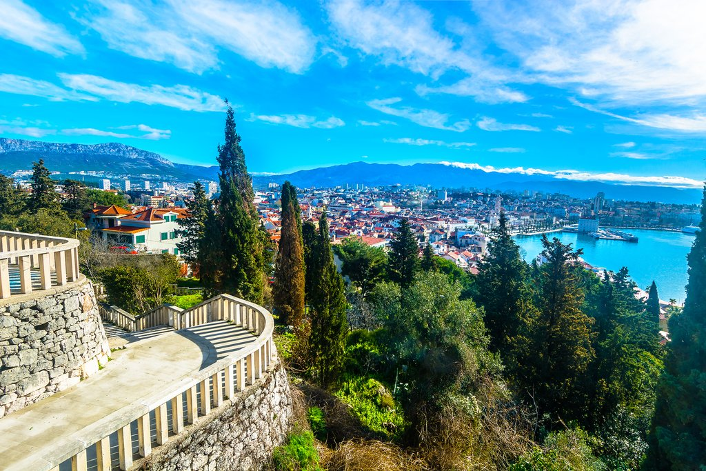 View of Split and its bay from atop Marjan Hill