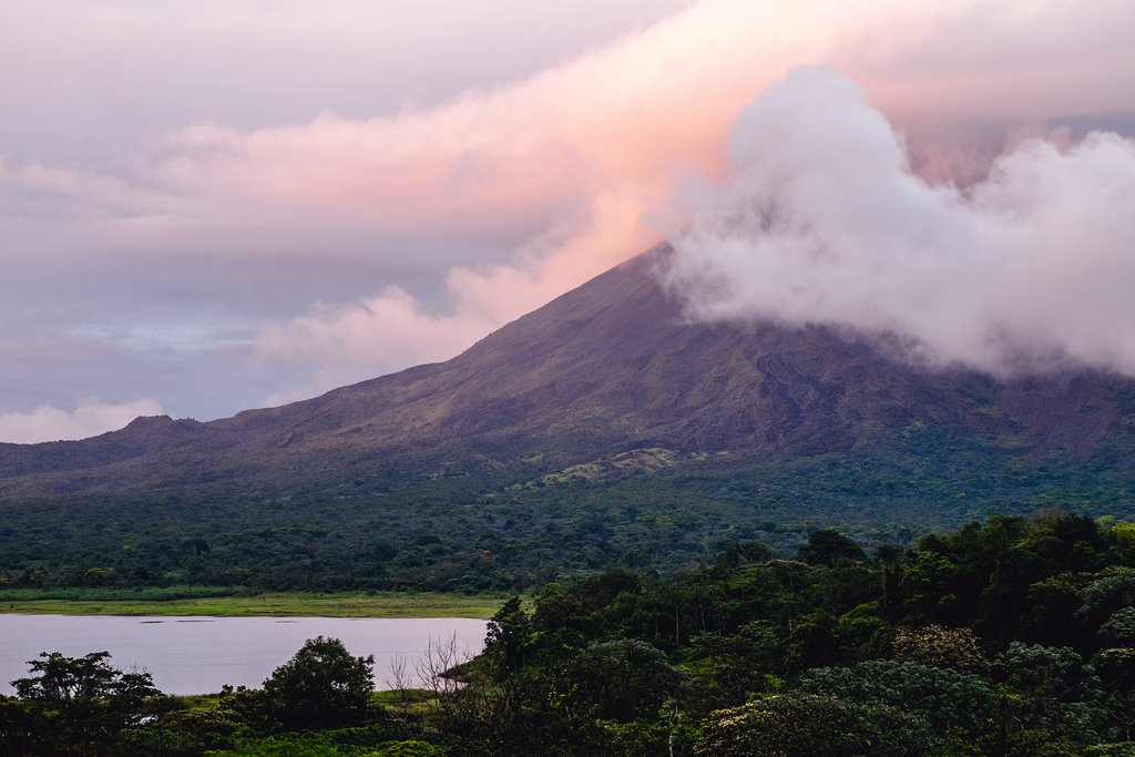 View of Arenal volcano at sunset