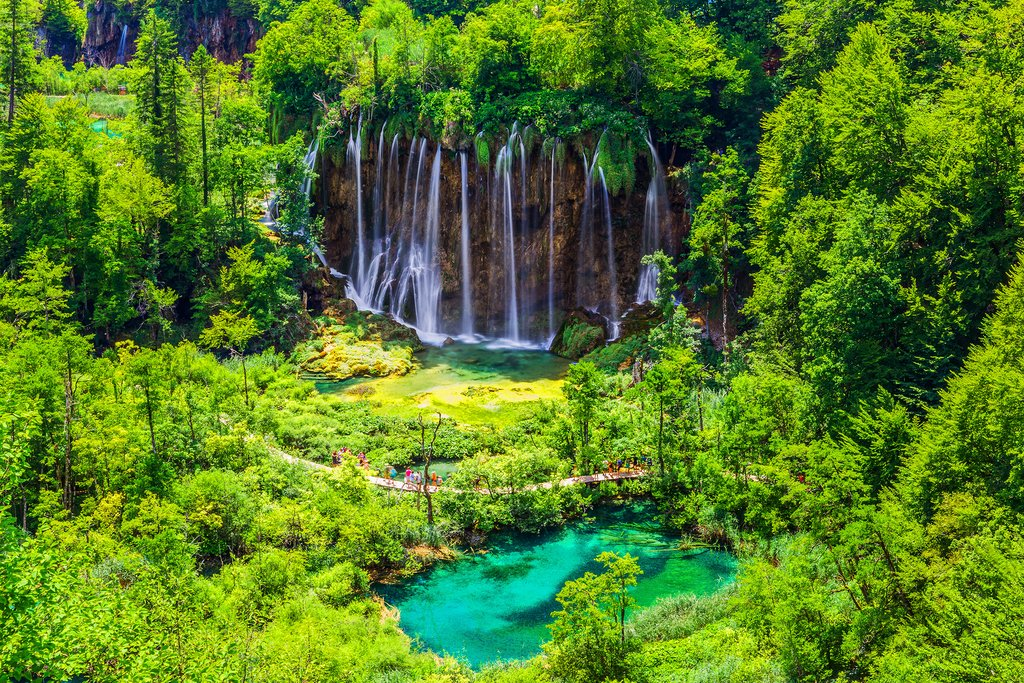Waterfalls of Plitvice Lakes National Park in Croatia