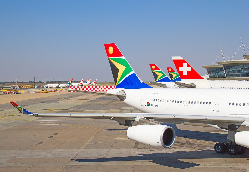 Planes at the airport in Johannesburg