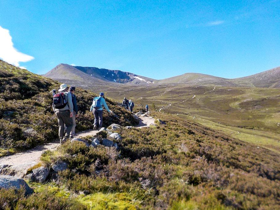 Hiking in the Cairngorm National Park.